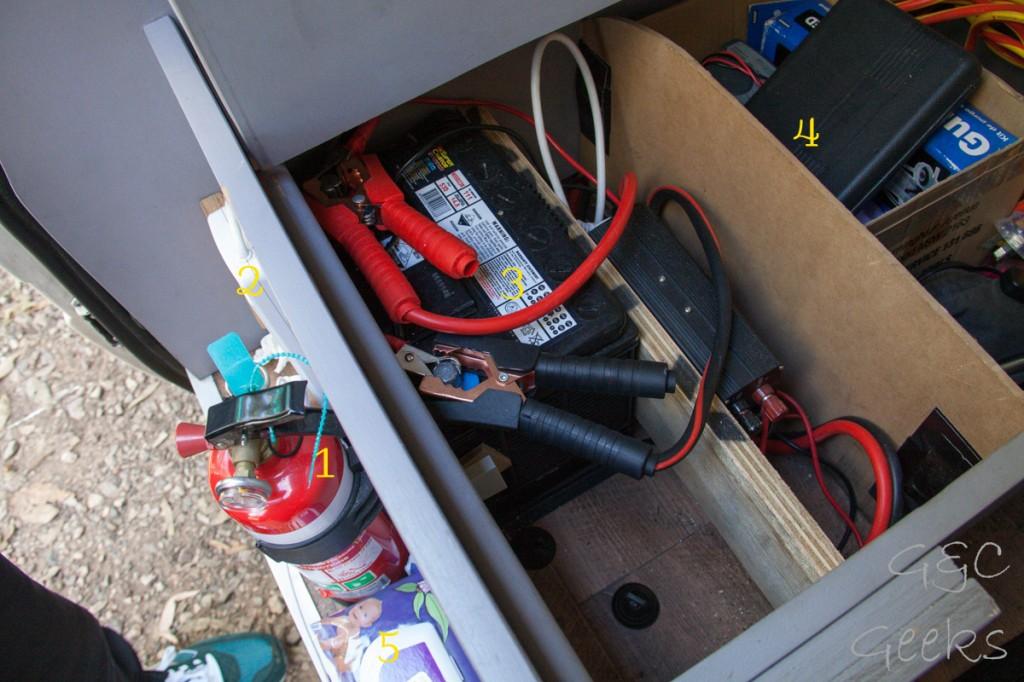 1- un extincteur, ça peut toujours servir 2- la multiprise 3- la batterie secondaire en mode charge avec la batterie principale 4- les outils 5- des petites lingettes pour bébés pour avoir nos mains douuuuces