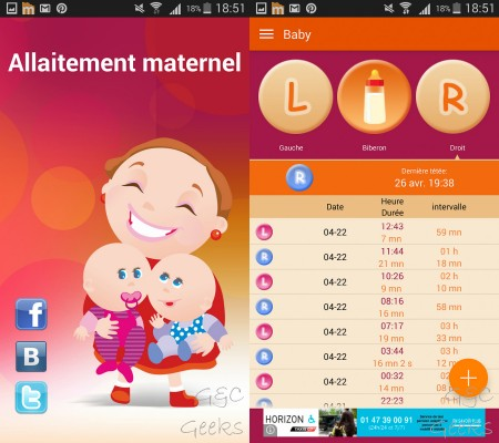 allaitement maternel application android